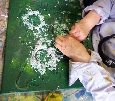 Impressie schilderen op de tast bij Studio Xplo in Tilburg