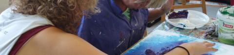 Detailfoto impressie schilderles voor mensen met een visuele beperking bij Studio Xplo in Tilburg