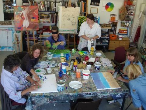 Impressie workshop Blind schilderen bij Studio Xplo in Tilburg voor Dedicon