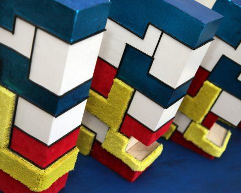 Toepassing Taktila bij kunstwerk van de blinde Marja van Oers, geïnspireerd op het werk van Mondriaan