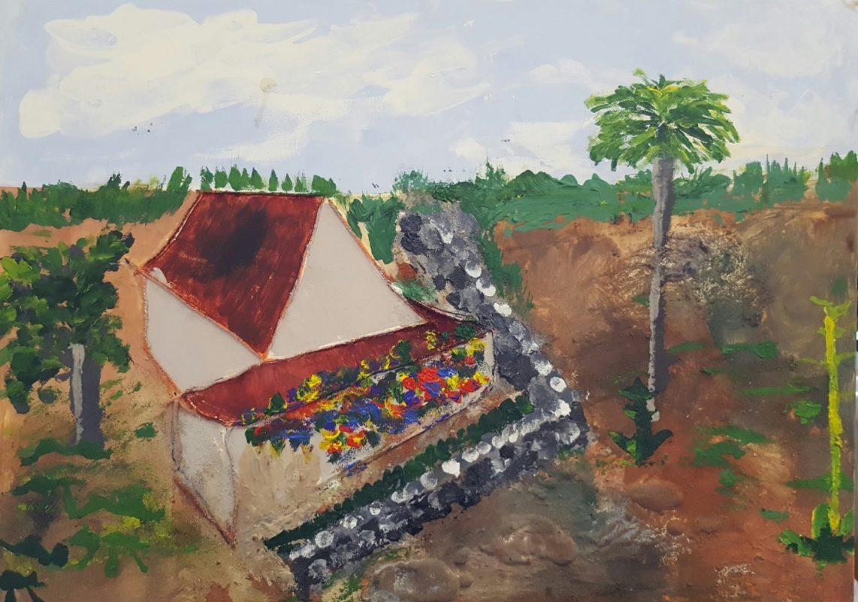 Schilderij van huis met tuin