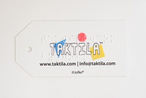 Taktila label met gat, logo, website en brailleopschrift