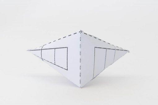 Vooraanzicht 3D model kubes naar verdwijnpunten