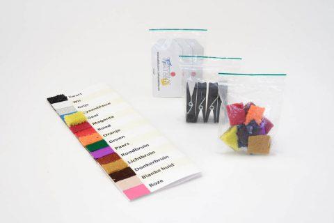 Starters Pakket met kleurenkaart, stickers, knijpers en labels